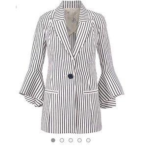 CAbi Tickling Stripe Bell Sleeve Jacket